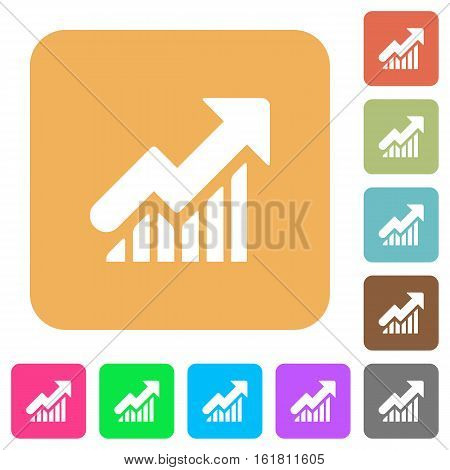 Rising graph icons on rounded square vivid color backgrounds