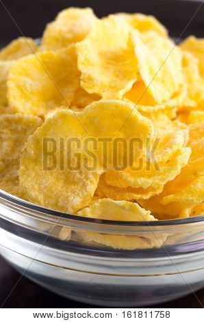 Defocused And Blurred Macro View Of Dry Cornflakes