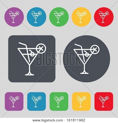 Martini Glass Icon Sign. A Set Of 12 Colored Buttons. Flat Design. Vector