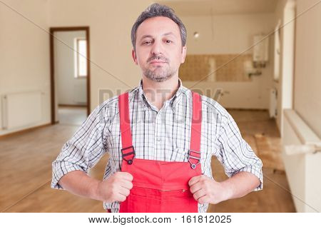 Proud Plumber Sitting In The House