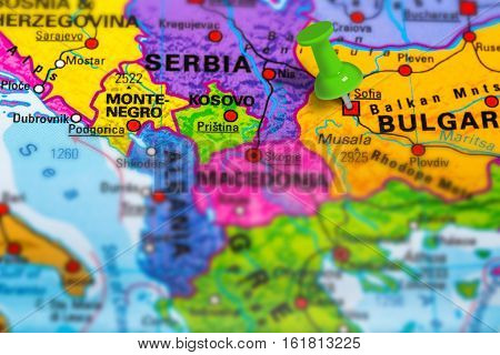 Sofia in Bulgaria pinned on colorful political map of Europe. Geopolitical school atlas. Tilt shift effect.