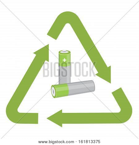 Vector illustration used battery with green recycling symbol. Waste Electrical and Electronic Equipment - WEEE concept.