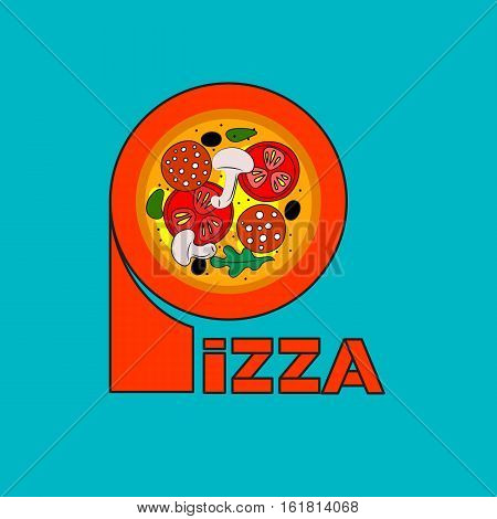 Vector lettering and image of pizza. Icon banner for pizzerias restaurants bistros. Logo template for menu