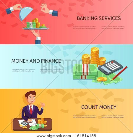 Set horizontal banners with businessman counts money profit stack of cash easy money. Vector illustration banking concept