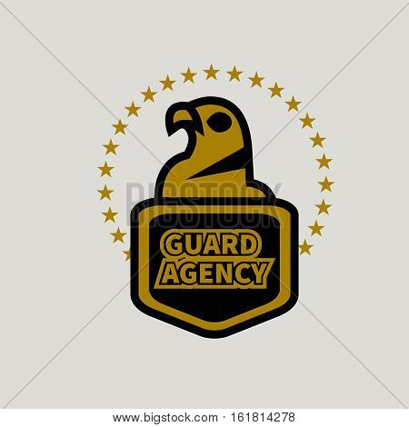 Logo of security agency. Vector golden and black eagle with shield and stars isolated. Icon bodyguard protection. Symbol of protection guard