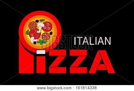 Vector lettering and image italian pizza. Icon banner for pizzerias restaurants bistros. Logo template for menu