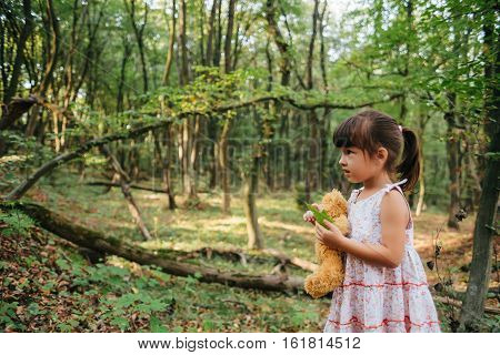 girl standing in the woods portrait of a girl in the woods.bear