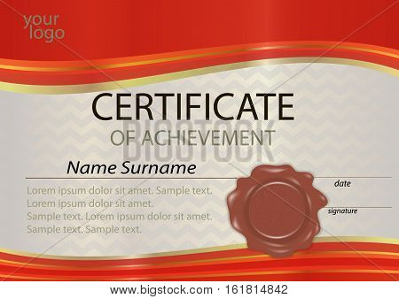 Certificate or diploma red template with wax seal. Winning the competition. Award winner. Vector illustration.
