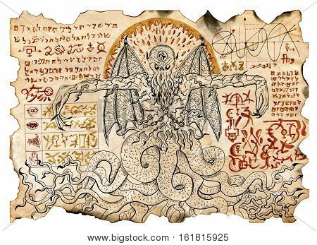 Old parchment with mystic drawings with evil demon and black magic symbols. Occult and esoteric illustrations. There is no foreign text in the image, all symbols are imaginary and fantasy ones.