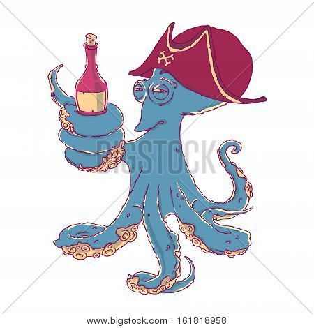 Cunning octopus-pirate with a bottle of alcohol in the tentacles. Drunk. Vector illustration isolated on white. T-shirt printing.