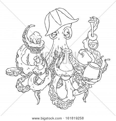Drunk octopus-pirate with a drink in the tentacles. Drunkard in a cocked hat askew. Vector illustration isolated on white. Coloring page.