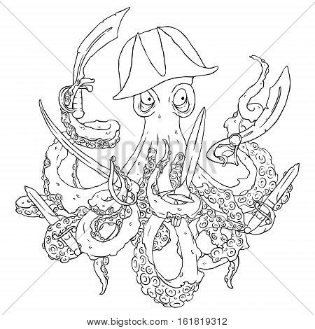 Angry pirate-octopus with arms. Sword, dagger, blade. Aggressive. Vector illustration isolated on white. Coloring page.
