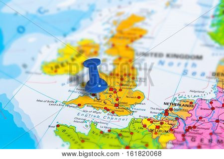 Bristol in United Kingdom pinned on colorful political map of Europe. Geopolitical school atlas. Tilt shift effect.