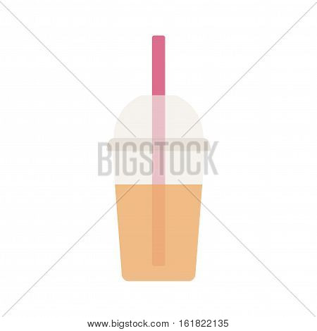 Smoothie in a plastic Cup with a straw. A soft drink. Vector illustration.