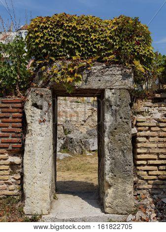 Roman thermae in Varna city on the Bulgarian Black Sea Coast.  Stone gate.