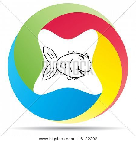 (raster image of vector) fish button poster