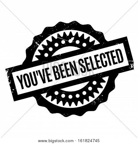 You've Been Selected rubber stamp. Grunge design with dust scratches. Effects can be easily removed for a clean, crisp look. Color is easily changed.