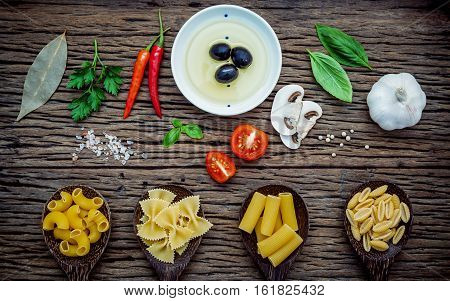Various Kind Of Pasta Elbow Macaroni,farfalle,rigatoni,gnocco Sardo In Spoon With Ingredients Sweet