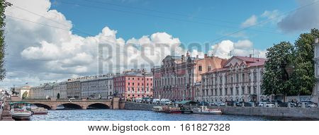 Fontanka River in St Petersburg view from the Anichkov Bridge poster