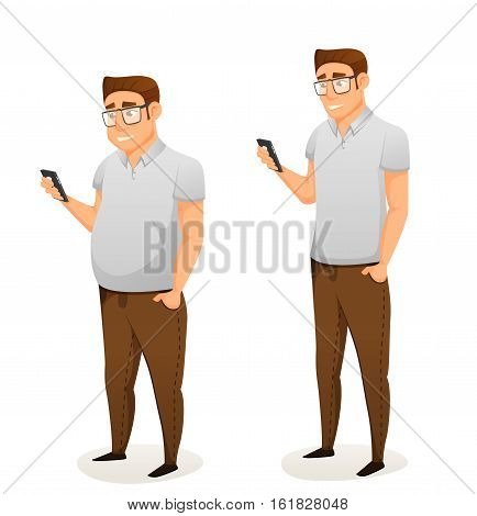 fat and thin vector illustration. siolated on white