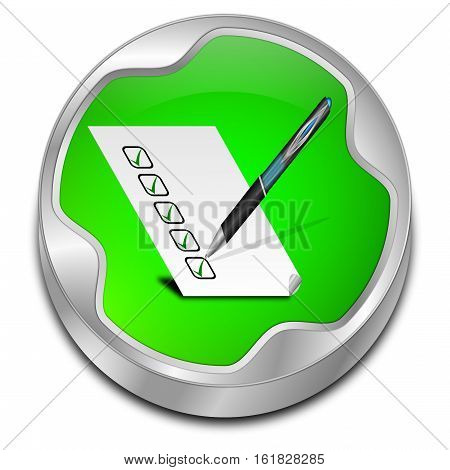 green Button with check list - 3D illustration