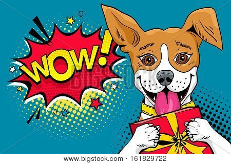 Wow pop art dog. Funny surprised dog with open mouth and gift box in his paws and Wow speech bubble. Vector colorful illustration in retro comic style.