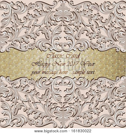 Luxury New Year gold mosaic card. Classic Baroque ornamented Invitation. Vintage decor Vector illustration. Rose quartz pink color