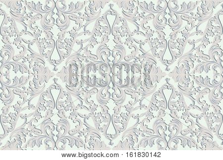 Vintage Baroque damask pattern Imperial style. Vector decor background. Luxury Classic ornament. Royal Victorian texture for wallpapers, textile, fabric. Grey color