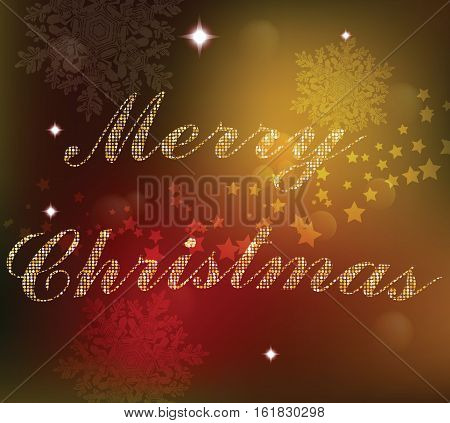 Christmas card background. Golden shinny text. Xmas card Happy New Year celebration. Holiday design Vector illustration