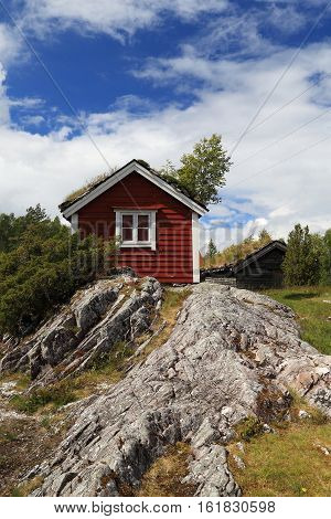 This is lodge in the mountains for tourists who do hiking Norway.