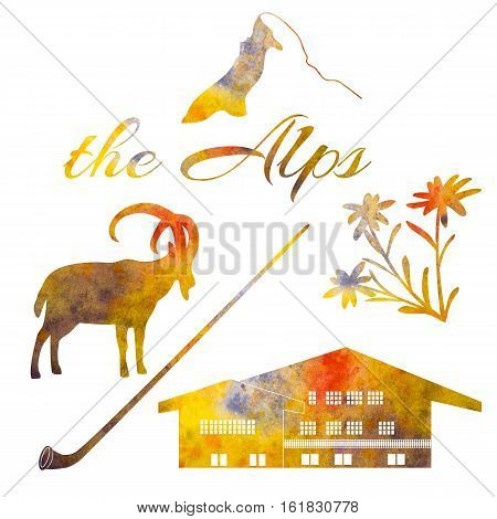 The Alps symbols. Set of watercolor objects. Matterhorn, chalet, edelweiss flowers, alpenhorn. For postcards decoration