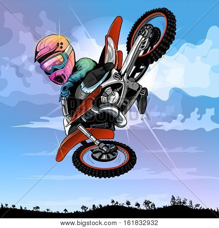 motocross cartoon, funny, for any fresh ideas EPS 10