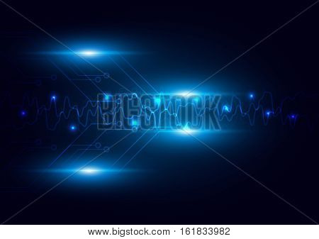 Abstract futuristic circuit with lighting technology dark blue color background. digital technology concept