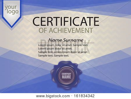 Blue certificate or diploma template with wax seal. Winning the competition. Award winner. Vector illustration.