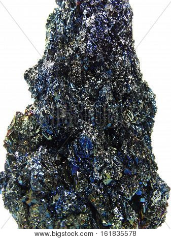 chalcopyrite semigem geological blue green crystal isolated poster