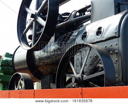 Old steam engine  (18th century). Steam Machine. Closeup. Retro. Ural, Russia