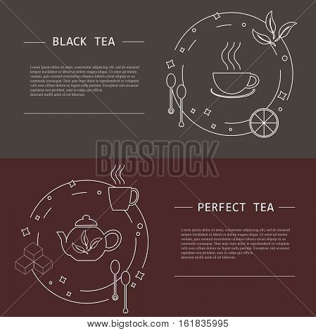 Design elements of tea concept, stock vector illustration. Vector flayers and banners in modern line style, object isolated, white tine line and lorem ipsum on grey and dark red background