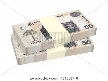 Surinamese dollar bills stack isolated on white background. 3D illustration.