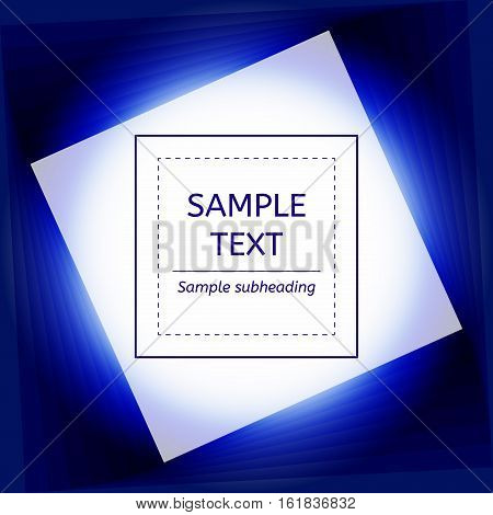 Blue abstract background Card. Geometric shapes, Luminescence, abstract light. Text place. Vector illustration EPS10