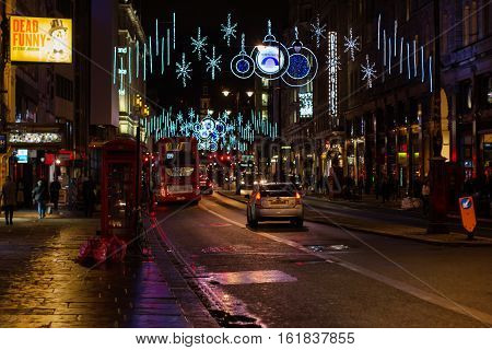 London - November 17, 2016: Strand Street With Christmas Decorations