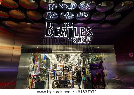 Las Vegas - Circa December 2016: The Beatles Shop at The Mirage. This is the only licensed Beatles retail store III