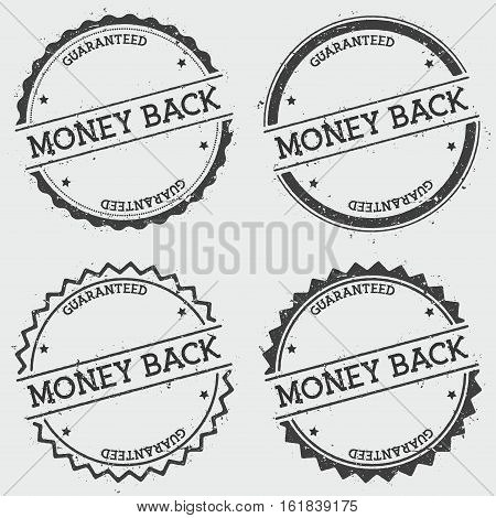Money Back Guaranteed Insignia Stamp Isolated On White Background. Grunge Round Hipster Seal With Te