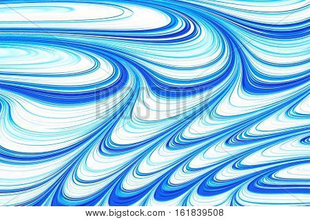 Wavy white and blue fractal background - abstract digitally generated image. Digital marbling: chaos waves and curls. For covers, web design, posters.