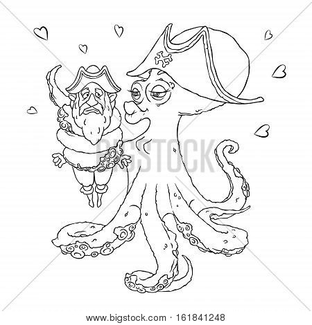 Postcard for Valentine's day. 14 Feb. Be my Valentine. Love the octopus hugs confused pirate. Vector illustration isolated on white. Coloring page