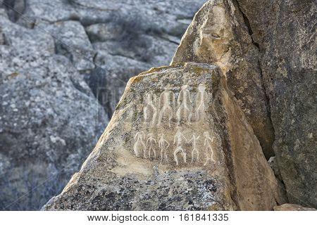 Historical petrographs. Carvings dating back 10 000 BC in Gobustan, Azerbaijan.