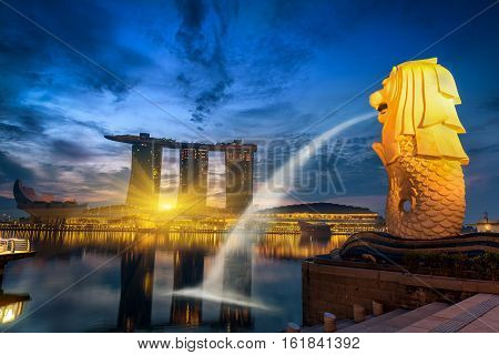 SINGAPORE - October 24 2016 : Singapore cityscape on sunrise scene. Singapore Marina Bay cityscape.