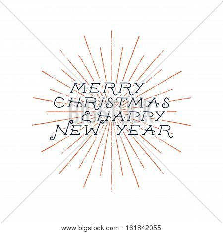 Merry Christmas and happy new year typography label. Retro photo overlay, badge. Vector holiday lettering illustration. Xmas greeting sign isolated. Rustic style. Stock artwork.