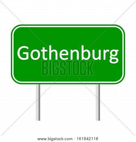 Gothenburg road sign isolated on white background.