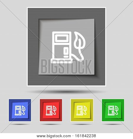 Gas Station With Leaves Icon Sign On Original Five Colored Buttons. Vector