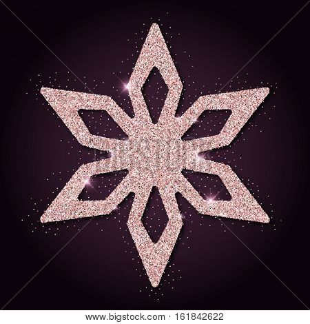 Pink Golden Glitter Fetching Snowflake. Luxurious Christmas Design Element, Vector Illustration.
